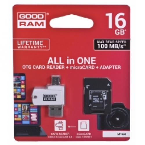 GOODRAM   MicroSD 16GB All in one class 10 UHS I + Card reader