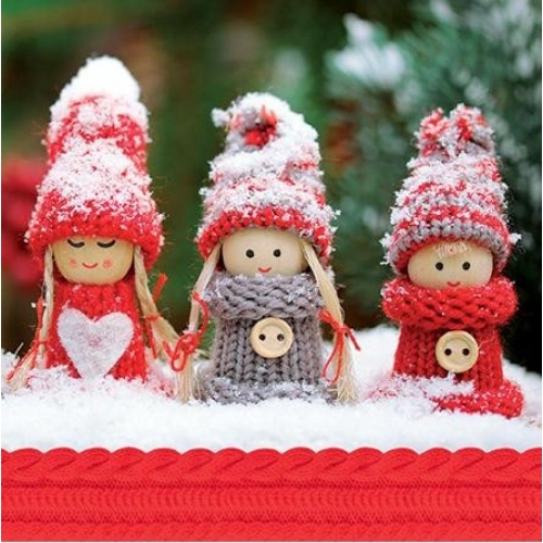 PAW DECOR COLLECTION Salvetes 33x33cm winter dolls