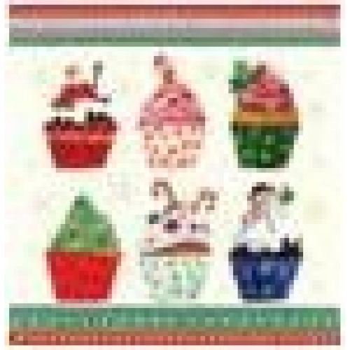 PAW DECOR COLLECTION Salvetes 33x33cm, christmas cupcakes