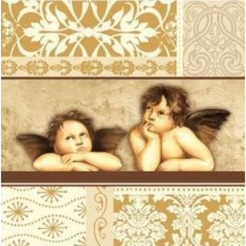 PAW DECOR COLLECTION Salvetes 33x33cm festive angels beige
