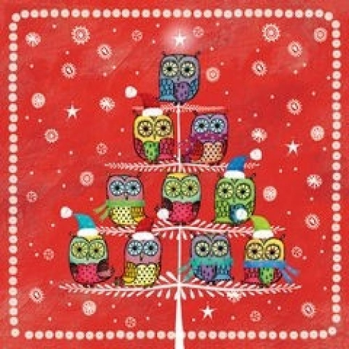 PAW DECOR COLLECTION Salvetes 25x25cm winter owlies sarkanas