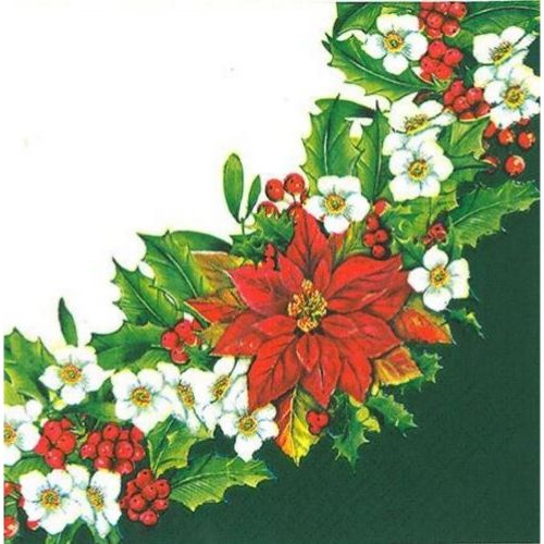 PAW DECOR COLLECTION [Z] SALVETES 33x33CM WREATH WITH POINSETTIA GREEN