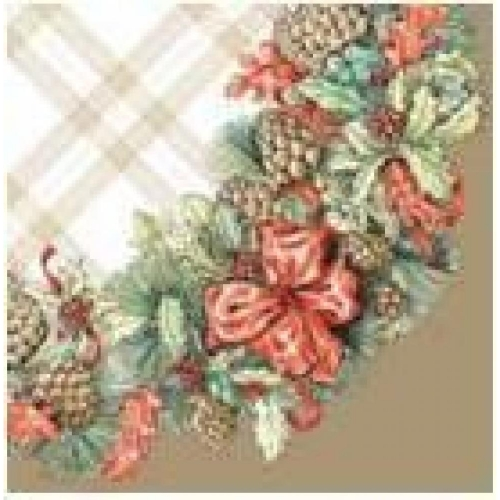 PAW DECOR COLLECTION Salvetes 25x25cm, garland with cones